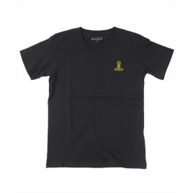 【20%OFF】 グラソス パイナップル刺繍Vネック半袖Tシャツ レディース ブラック 130cm 【GLAZOS】 【セール開催中】