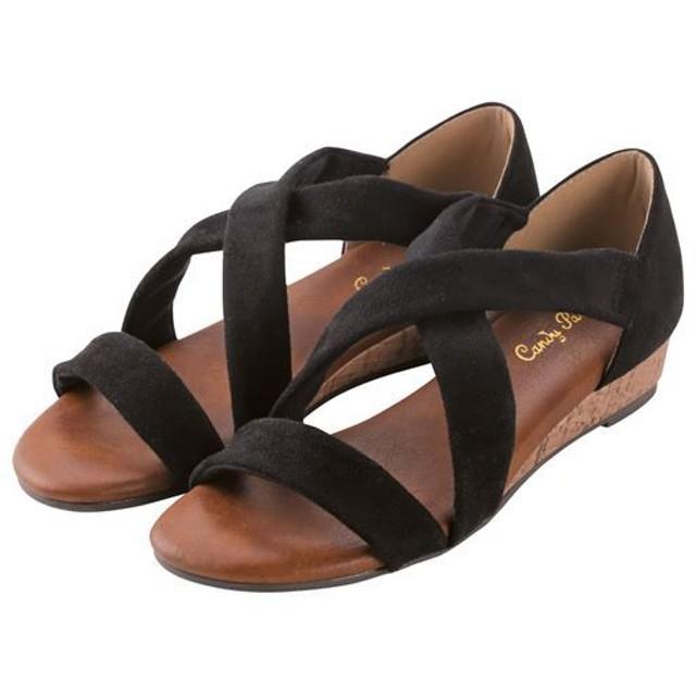 歩きやすいクロスサンダル - セシール ■カラー:ブラック ■サイズ:S(22.5cm),L(24cm),M(23-23.5cm)