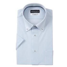 【洋服の青山:トップス】【半袖】【ニット素材】【ボタンダウン】スタイリッシュワイシャツ