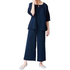【レディース】 ふんわりスモックパジャマ(綿100%) - セシール ■カラー:ネイビーブルー ■サイズ:M,L,LL