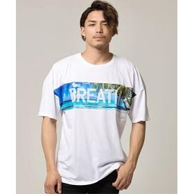 シルバーバレット CavariA切り替えビッグシルエットクルーネック半袖Tシャツ メンズ ホワイト系2 44(M) 【SILVER BULLET】