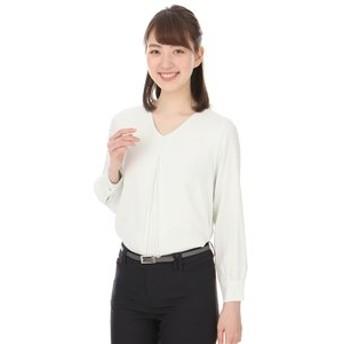 【洋服の青山:トップス】【長袖】【Vネック】ソフトブラウス