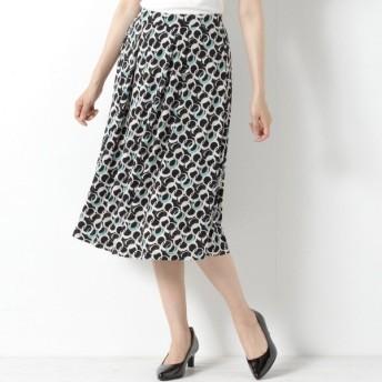 スカート レディース ロング 通勤にも◎きれい見えタックフレアスカート 「リンググリーン」
