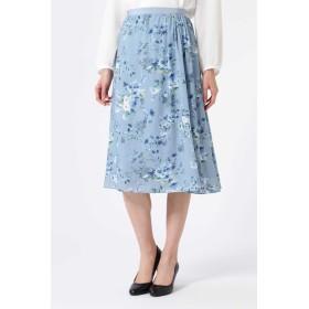 NATURAL BEAUTY ウォーターフラワープリントスカート ひざ丈スカート,ブルー