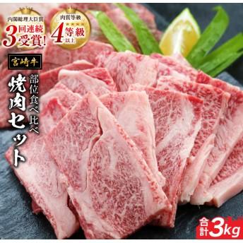 ☆豪快☆宮崎牛部位食べ比べ焼肉セット(合計3kg)