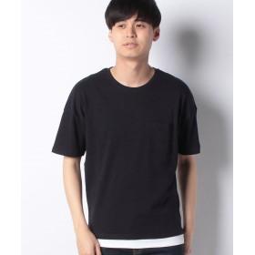 【10%OFF】 コムサイズム フェイクレイヤードビッグTシャツ メンズ ネイビー L 【COMME CA ISM】 【タイムセール開催中】
