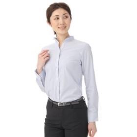 【洋服の青山:トップス】【長袖】【ストレッチ】【スーピマコットン】スキッパーブラウス