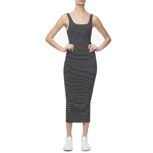 グッドアメリカン (Regular & Plus Size) Good American Square Neck Ruched Body-Con Dress Stripe001 ワンピース トップス レディース