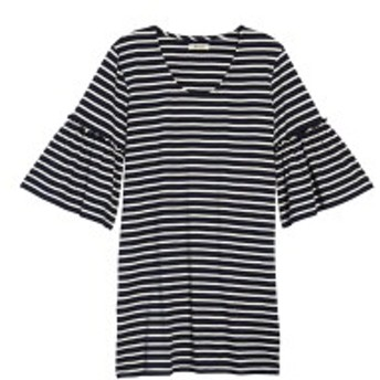 メイドウェル レディース ワンピース トップス Madewell Stripe Ruffle Sleeve Dress Deep Navy Socotra Stripe