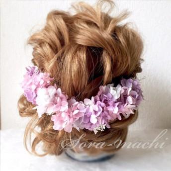 アンティークパープルの紫陽花とかすみ草のヘッドフラワー