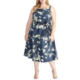 ライチェルレイチェルロイ レディース ワンピース トップス RACHEL Rachel Roy Floral Fit & Flare Sundress (Plus Size) Blue Combo