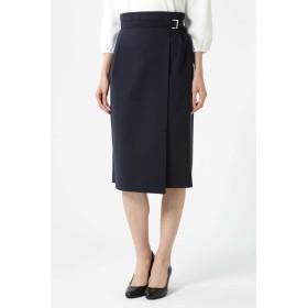 NATURAL BEAUTY アシンメトリーラップタイトスカート ひざ丈スカート,ネイビー