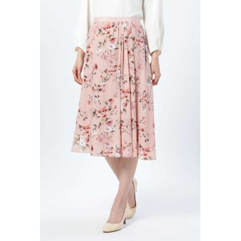 NATURAL BEAUTY ウォーターフラワープリントスカート ひざ丈スカート,ピンク