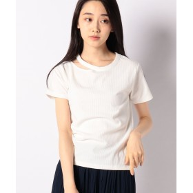 【10%OFF】 ウィゴー WEGO/デコルテカッティングTシャツ レディース ホワイト F 【WEGO】 【タイムセール開催中】