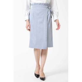 NATURAL BEAUTY アシンメトリータックラップスカート ひざ丈スカート,ブルー1