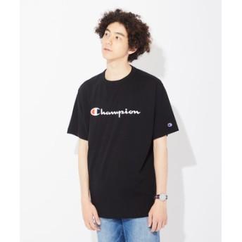 Champion スクリプトプリントビッグシルエットTシャツ メンズ ブラック