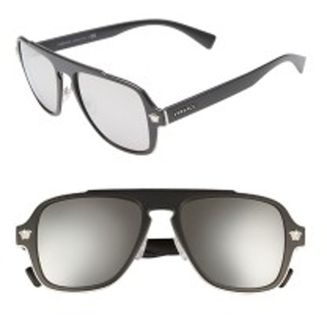 36a1b9a09 ヴェルサーチ レディース サングラス&アイウェア アクセサリー Versace 56mm Mirrored Aviator Sunglasses  Matte Black/ Silver