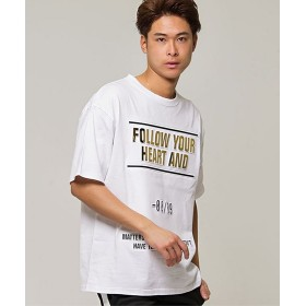 シルバーバレット CavariA エンボス箔加工バックプリントクルーネック半袖Tシャツ メンズ ホワイト系1 44(M) 【SILVER BULLET】