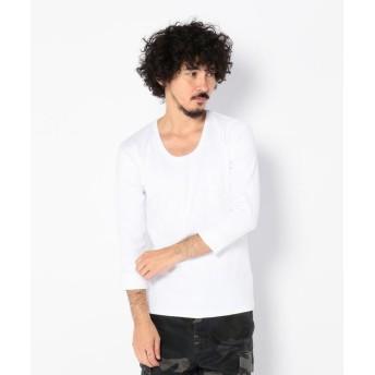 アヴィレックス デイリー 2/3 スリーブ Uネック ティーシャツ/ DAILY 2/3 SLEEVE U NECK T SHIRT メンズ WHITE L 【AVIREX】