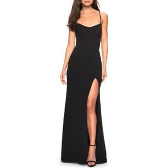 ラフェム レディース ワンピース トップス La Femme Sweetheart Neck Jersey Evening Dress Black