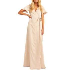 ウミーユアムーム レディース ワンピース トップス Show Me Your Mumu Noelle Satin Wrap Evening Dress Champagne Satin