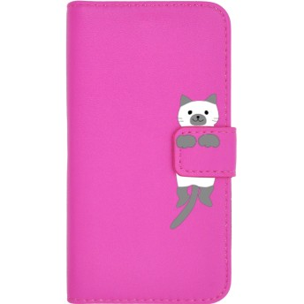 PLATA スマホケース iPhone6 iPhone6s iPhone7 iPhone8 手帳型ケース ■ ねこ × ビビッドピンク