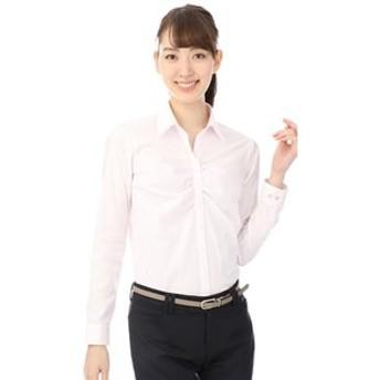 【洋服の青山:トップス】【長袖】【ストレッチ】【スキッパーカラー】ギャザーブラウス(クイーン)