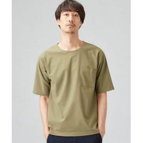 (green label relaxing/グリーンレーベルリラクシング)CM エラシックマイヤー ノーカラー 半袖 Tシャツ/メンズ OLIVE