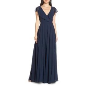 ジェニーヨー レディース ワンピース トップス Jenny Yoo Faye Ruffle Wrap Chiffon Evening Dress Whisper Blue