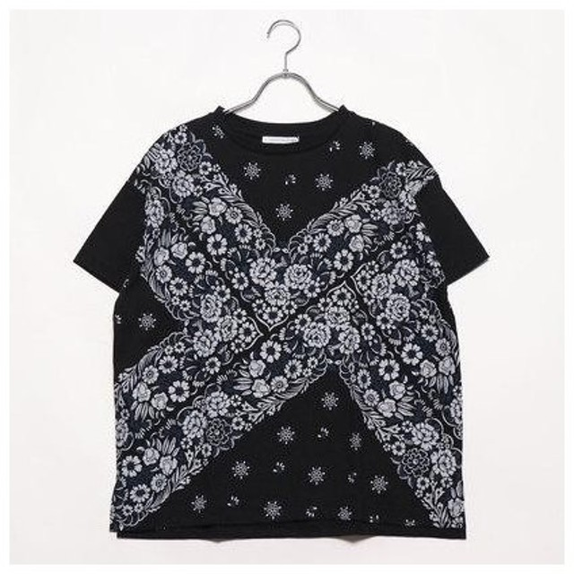 イーハイフンワールドギャラリー E hyphen world gallery outlet フラワーバンダナビッグTシャツ (ブラック)