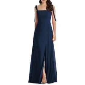 ドレッシーコレクション レディース ワンピース トップス Dessy Collection Shoulder Tie Chiffon Evening Dress Midnight
