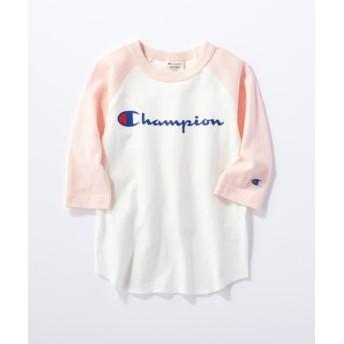 Champion 【WEB限定】ラグラン7分袖Tシャツ キッズ ピンク