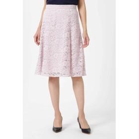 NATURAL BEAUTY レースフレアスカート ひざ丈スカート,ピンク