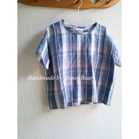 リネンTシャツ風ブラウス☆ブルー系チェック