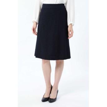 NATURAL BEAUTY シフォン使いツイードスカート ひざ丈スカート,ネイビー