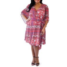 マレプアトイ レディース ワンピース トップス Mare Pour Toi Faux Wrap Dress (Plus Size) Red