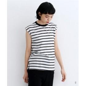 (merlot/メルロー)ボーダーピケノースリーブTシャツ/レディース その他