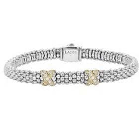 ラゴス レディース ブレスレット・バングル・アンクレット アクセサリー LAGOS Signature Caviar Diamond Rope Bracelet Silver/Gold