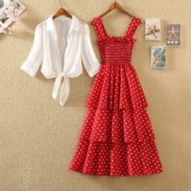 サマードレス 2点セット ワンピース 水玉模様 ストラップドレス シフォン ロング丈 フレア シャーリング UV対策 リゾート