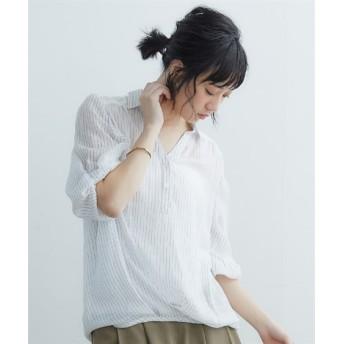後レース裾タック5分袖スキッパーシャツ (ブラウス),Blouses, Shirts