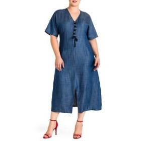 スタンダーズアンドプラクティス レディース ワンピース トップス Standard & Practices Meme Tencel Midi Dress (Plus Size) Navy