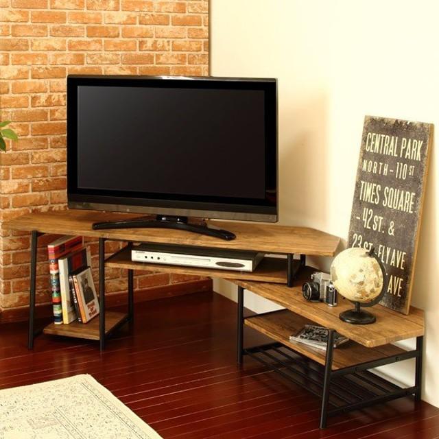 テレビ台 伸縮 ローボード ブルックリンスタイル スチールフレーム 幅120〜171cm ( TV台 テレビラック コーナーボード )