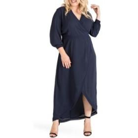 スタンダーズアンドプラクティス レディース ワンピース トップス Standards & Practices Elle High/Low Wrap Dress (Plus Size) Midnigh