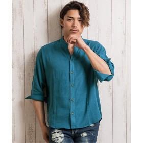 シルバーバレット CavariA麻混ストレッチ6分袖スキッパーシャツ メンズ ブルー 44(M) 【SILVER BULLET】