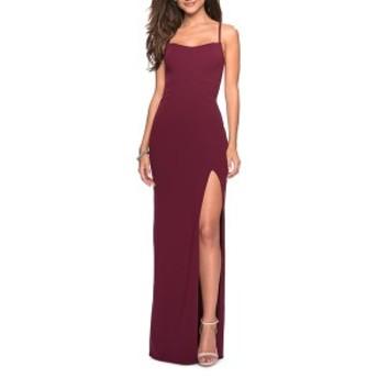 ラフェム レディース ワンピース トップス La Femme Sweetheart Neck Jersey Evening Dress Burgundy