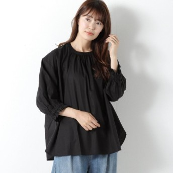 シャツ ブラウス レディース コットン100%のバルーン袖ブラウス 「ブラック」