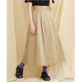 (merlot/メルロー)【IKYU】ツータックAラインスカート/レディース ベージュ