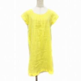 【中古】120% リノ LINO ワンピース ひざ丈 半袖 麻 リネン 40 黄色 イエロー レディース