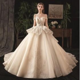 ウェディングドレス 森ガール系 結婚式 花嫁 豪華ドレス お姫系 超人気 ブライダル ロングドレス 2019新品 シンプル WS-572