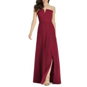 ドレッシーコレクション レディース ワンピース トップス Dessy Collection Strapless Chiffon Evening Dress Burgundy